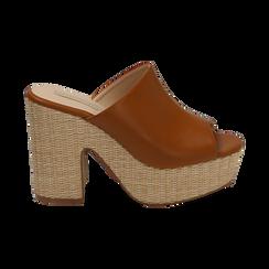 Mules cuoio in eco-pelle, tacco-zeppa 11 cm , Zapatos, 154903266EPCUOI036, 001 preview