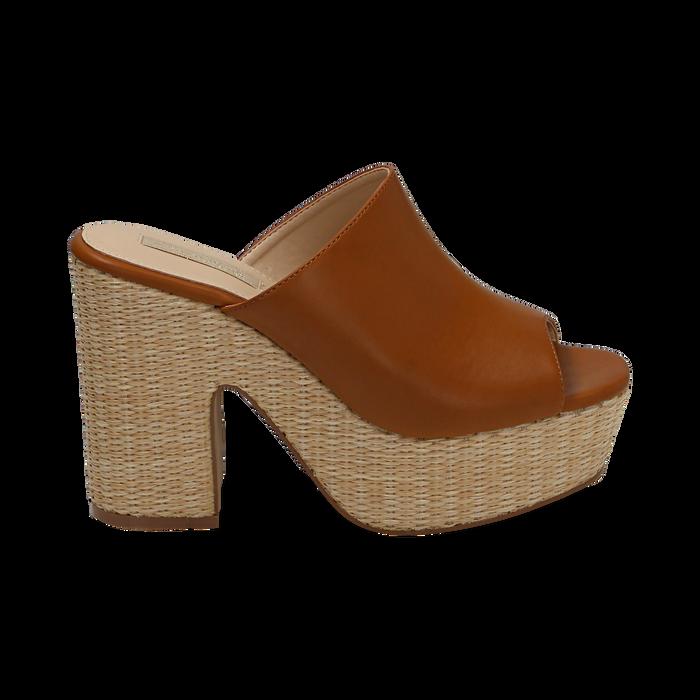 Mules cuoio in eco-pelle, tacco-zeppa 11 cm , Zapatos, 154903266EPCUOI036