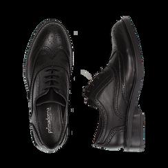 Stringate nere in eco-pelle con lavorazione Duilio, Scarpe, 140618203EPNERO036, 003 preview