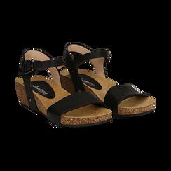 Sandali platform neri in eco-pelle, zeppa in sughero 4 cm ,