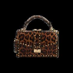 Borsa a mano borchiata leopard, IDEE REGALO, 165122990EPLEMAUNI, 001 preview