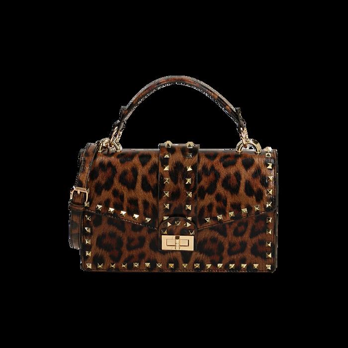 Bolso a mano marrón estampa leopard, GIFT IDEAS, 165122990EPLEMAUNI
