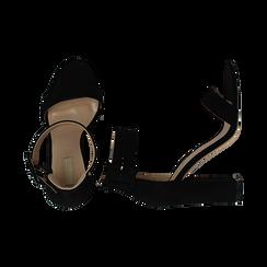 Sandali neri in mircofibra, tacco colonna 10, 50 cm , Sandali con tacco, 132760832MFNERO037, 003 preview