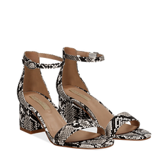 Sandali bianco/nero in eco-pelle effetto snake skin, tacco 5,5 cm, Scarpe, 132707031PTBINE036, 002a