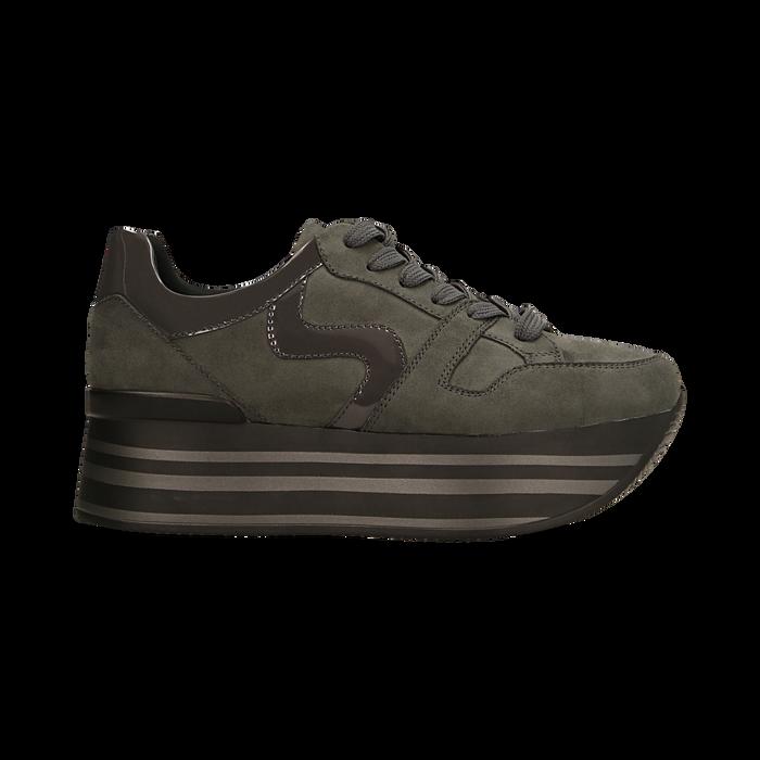Sneakers grigie con maxi platform a righe, Primadonna, 122800321MFGRIG035