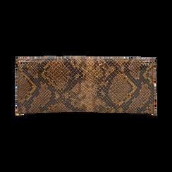 Pochette piatta marrone in eco-pelle snake print, Primadonna, 145122510PTMARRUNI, 003 preview
