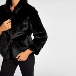 Pelliccia nera corta eco-fur, manica lunga, Saldi, 12B432301FUNERO, 004 preview