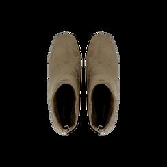 Tronchetti taupe scamosciati con tacco scultura 6 cm, Scarpe, 122707126MFTAUP, 004 preview