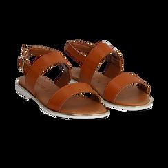 Sandali flat cuoio in eco-pelle, Saldi Estivi, 136102086EPCUOI036, 002 preview