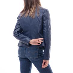 Biker jacket blu in eco-pelle, Abbigliamento, 146500127EPBLUE3XL, 002a