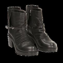 Biker boots neri in eco-pelle, tacco 5 cm , Stivaletti, 140736661EPNERO035, 002a