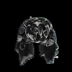Pashmina nera in tessuto con stampa pois, Abbigliamento, 14B491013TSNEROUNI, 002a