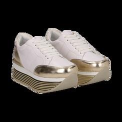Sneakers bianche in eco-pelle con platform oro, Scarpe, 130751703EPBIOR037, 002 preview