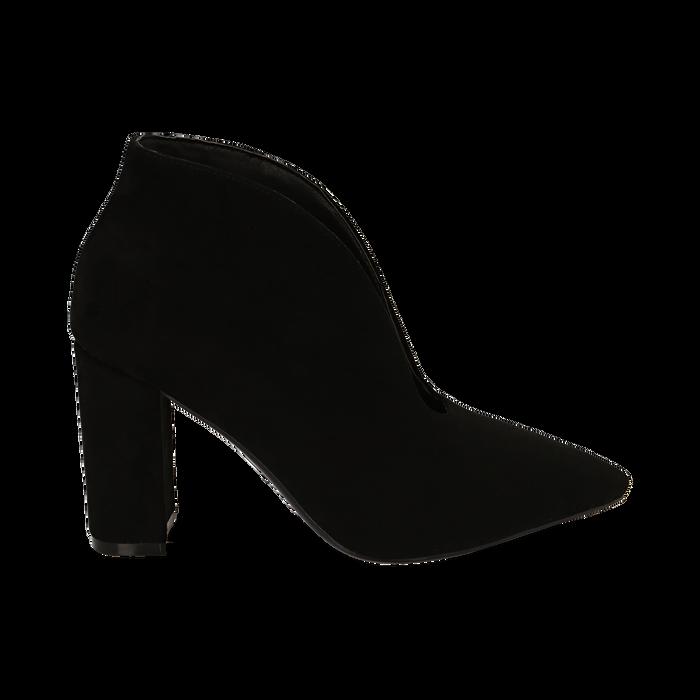Ankle boots neri in microfibra, tacco 10,50 cm , Primadonna, 162183310MFNERO036