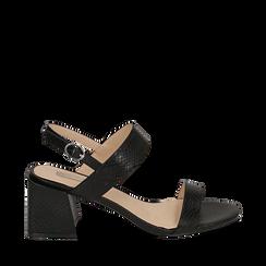 Sandali neri stampa pitone, tacco 6,50 cm, Primadonna, 152790111PTNERO036, 001a