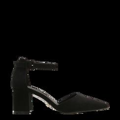 Décolleté nere con maxi cinturino, tacco 7,5 cm, Scarpe, 122166910MFNERO037, 001a