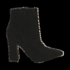 Ankle bottes en microfibre noir, talon 10 cm, Primadonna, 164822754MFNERO035, 001 preview