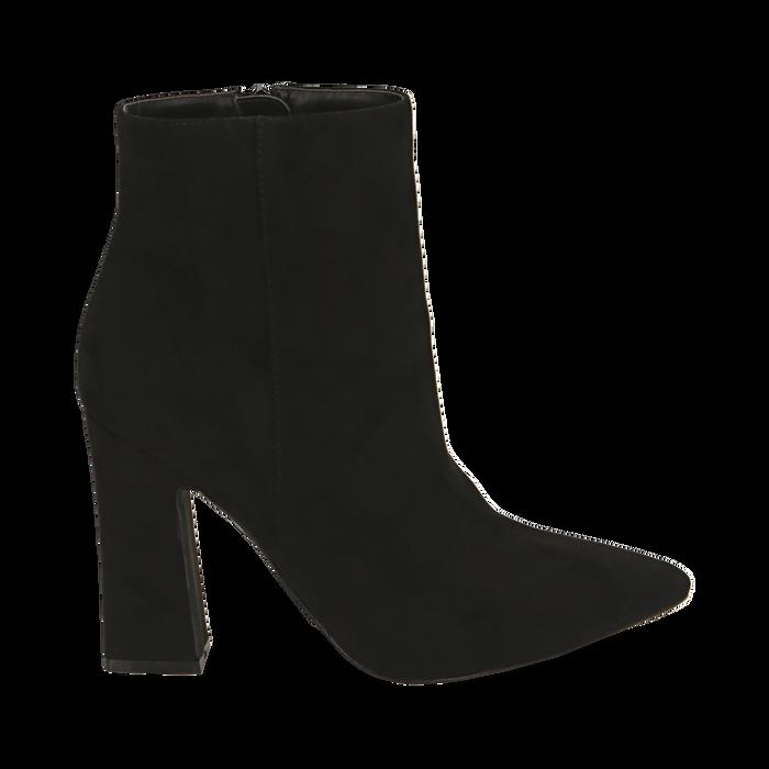Ankle bottes en microfibre noir, talon 10 cm, Primadonna, 164822754MFNERO035