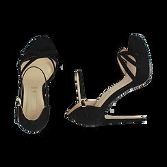 Sandali neri in microfibra, tacco 12,50 cm, OUTLET, 152118123MFNERO040, 003 preview
