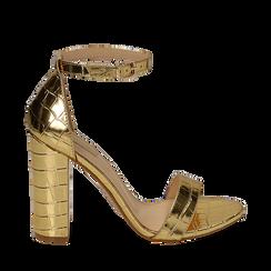 Sandali oro stampa cocco, tacco 10,50 cm, Scarpe, 152706086CCOROG035, 001a