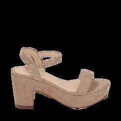 Sandalias en microfibra color beige, tacón cuña 8,50 cm, SABOT DE TACÓN ALTO, 154955200MFBEIG035, 001a