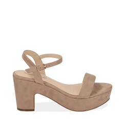 CALZATURA SANDALO MICROFIBRA BEIG, Chaussures, 154955200MFBEIG036, 001a