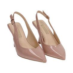 Slingback nude en verni, talon 8 cm, Chaussures, 174823795VENUDE037, 002 preview