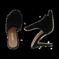 Mules nere in microfibra, tacco stiletto 10 cm, Primadonna, 134833121MFNERO035, 003 preview