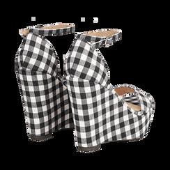 Sandali bianco/neri in tessuto Vichy, zeppa 13 cm, Scarpe, 132117220TSNEBI035, 004 preview