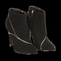 Ankle boots neri con zip, tacco 10,50 cm , Stivaletti, 142150061MFNERO035, 002a