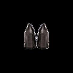 Mocassini décolleté canna di fucile con frange, tacco 9 cm, Scarpe, 122186591LMCANN, 003 preview