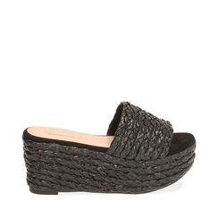 Zapatillas de rafia negra, tacón cuña 8,5 cm, 172709371RFNERO035, 001a