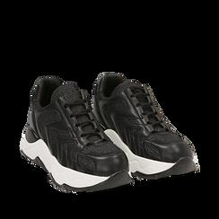 Dad shoes nere glitter, suola 5 cm , Scarpe, 142898804GLNERO035, 002a