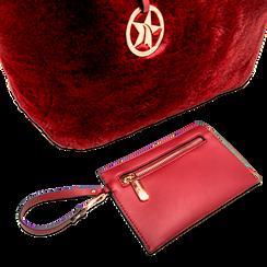 Borsa shopper bordeaux in pelliccia con pochette e portamonete, Borse, 125702076FUBORDUNI, 005 preview