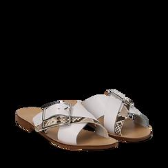 Mules bianche in vera pelle con dettagli snake skin, Saldi Estivi, 133500088PEBIAN035, 002a