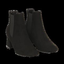 Ankle boots neri in microfibra, tacco trapezio 6 cm , Stivaletti, 142707127MFNERO036, 002a