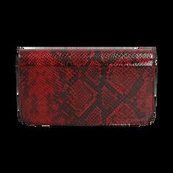 Pochette rossa in eco-pelle snake print, Primadonna, 145122779PTROSSUNI, 003 preview