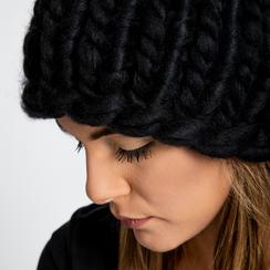 Berretto invernale nero in tessuto filato XL, Saldi Abbigliamento, 12B444008TSNEROXXL, 004 preview