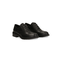 Francesine stringate nere, eco-pelle punzonata, Scarpe, 120618203EPNERO036, 002