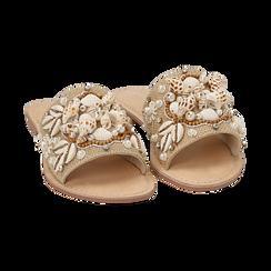 Ciabatte beige in rafia con conchiglie, Scarpe, 15K904446RFBEIG036, 002 preview
