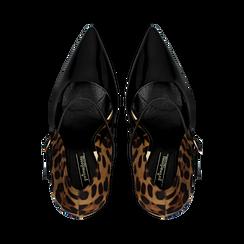 Décolleté nero-leopard con cinturino e occhiello, tacco 11 cm, Primadonna, 122162092VENELE, 004 preview