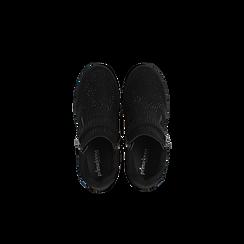Sneakers nere con zip e chiusura a strappo, Scarpe, 129313816MFNERO, 004 preview