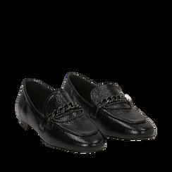 Mocassini a punta neri in laminato, Scarpe, 144911261LMNERO035, 002a