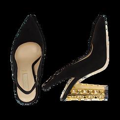 Décolleté Slingback nere in microfibra con cinturino alla caviglia, tacco gioiello 12 cm, Scarpe, 132118672MFNERO035, 003 preview