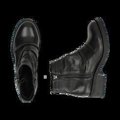 Biker boots neri in pelle, tacco 4 cm , Stivaletti, 147718220PENERO036, 003 preview