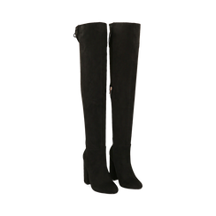 Overnkee neri in microfibra, tacco 10,50 cm , Stivali, 142186948MFNERO037, 002 preview