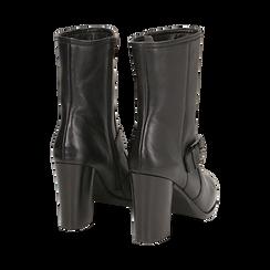 Ankle boots neri in pelle, tacco 9 cm , Primadonna, 14F114002PENERO036, 003 preview