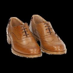 Oxford de piel en color cuero , Zapatos, 159908418PECUOI036, 002 preview