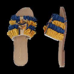 Ciabatte giallo/turchesi in rafia, Scarpe, 15K904447RFGITU, 003 preview