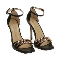 Sandali neri con catena, tacco 10,5 cm , Primadonna, 172114211EPNERO035, 002 preview